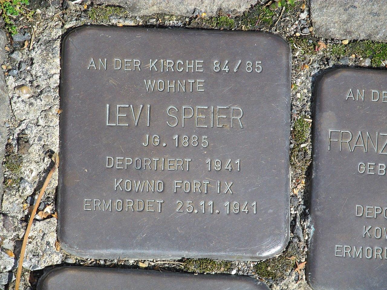 Stolperstein Levi Speier, 1, Bahnhofstraße 110, Borken, Schwalm-Eder-Kreis.jpg