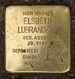 Photo of Elsbeth Lubranczyk brass plaque