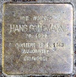 Photo of Hans Goldmann brass plaque