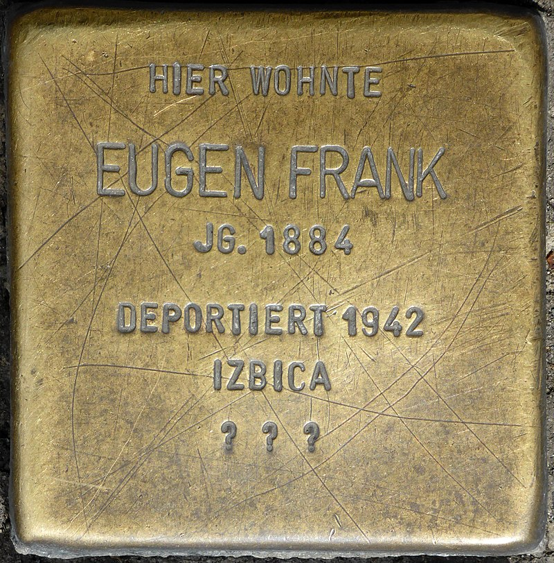 Stolperstein für Eugen Frank (Friedrichstraße/Ecke St. Anton-Straße)