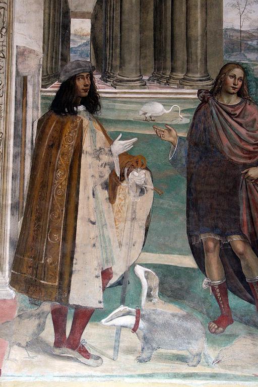 Le storie di San Benedetto,, dettagli della terza scena, Come Benedetto risalda lo capistero che s'era rotto