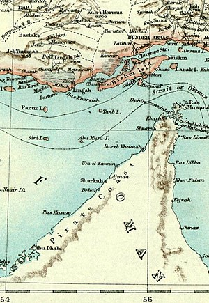Hormuz Island - Historical map of the Strait of Hormuz showing the island spelled as Ormuz, top right
