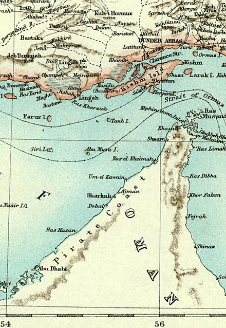 An 1892 map of Arabia denoting the Pirate Coast. The term was first used by the British around the 17th century and acquired its name from the raiding activities that Al Qawasim pursued against the British. The charge of piracy has been disputed by historians and archivists in the UAE in particular. The counter-argument is that the Al Qasimi were the subject of British aggression in an attempt to stamp its authority on trade routes thought of as important to Iraq and India. Strait of hormuz.jpg