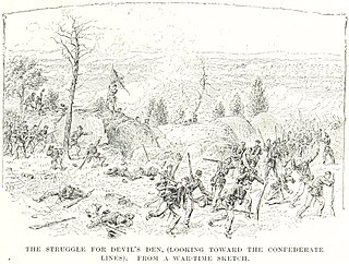 Devils Den Section of combat during the Second day of Gettysburg.