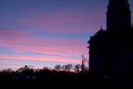 Sunset behind church, Cavan.jpg