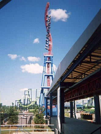 Possessed (roller coaster) - Possessed when it was known as Superman: Ultimate Escape at Geagua Lake (then named Six Flags Ohio and Six Flags Worlds of Adventure).