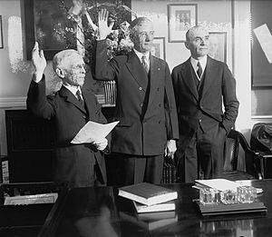 Arthur M. Hyde - Secretary Arthur M. Hyde to sworn in office, as the Secretary of Agriculture, with the succeed by a William M. Jardine, (right).