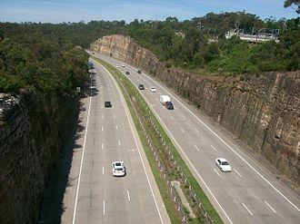 Sydney sandstone - Southbound view of the M1 Pacific Motorway carved through sandstone at Berowra.
