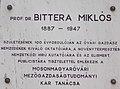 Széchenyi István University, plaque of Prof. Miklós Bittera, 2017 Mosonmagyaróvár.jpg