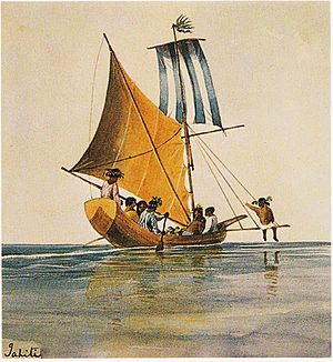 Polynesian culture - Image: Tahitian sailing canoes, painting by Henry Byam Martin