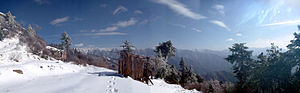 Mount Taibai - A panorama in the heart of Taibai (with small hut in the center), taken from Doumu Palace, elev. 2900m.
