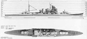 Takao-class cruiser - United States Navy recognition drawings of Takao and Atago