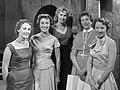 Tanja Koen (NCRV), Hannie Lips (KRO), Verti Dixon (VPRO), Ageeth Scherphuis (AVRO) en Karin Kraaykamp (VARA) (1956).jpg