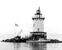 A black-and-white photograph of the lighthouse shore with a boat docked in front and people walking on the dock. The western shore of the Hudson is visible in the background