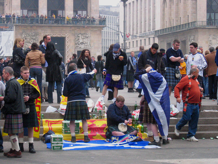 The Tartan Army in Milan in 2005, prior to their 2006 World Cup qualifying match against Italy Tartan Army.png