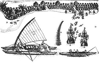 Tonga - The arrival of Abel Tasman in Tongatapu, 1643; drawing by Isaack Gilsemans