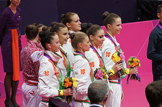 Belarus at the 2012 Summer Olympics - Belarus takes the silver medal in team-all around rhythmic gymnastics.