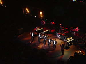 The Temptations - The Temptations on stage at London's Royal Albert Hall, November 2005. Pictured L-R: Joe Herndon, Otis Williams, G.C. Cameron, Terry Weeks, and Ron Tyson.