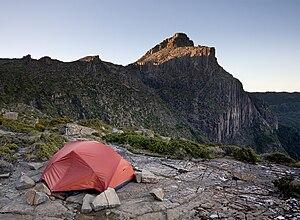 Tent at High Shelf Camp, near Mt Anne, Southwe...
