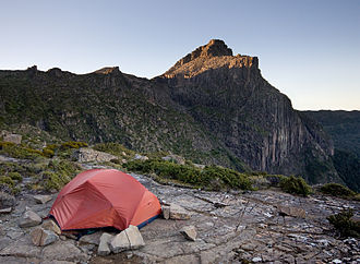 Backpacking (wilderness) - A backpacker's modern lightweight dome tent near Mount Anne in a Tasmanian Wilderness area