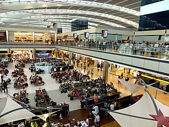 Heathrow Airport - Central waiting area in Terminal 5