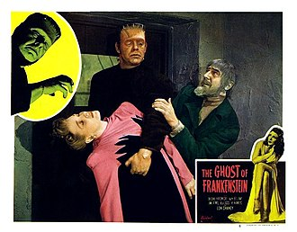 The Ghost of Frankenstein - Colored lobby card featuring Lon Chaney Jr as the monster and Bela Lugosi as Igor.