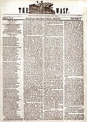 The Wasp (newspaper) - Example of the front page of The Wasp, originally published in 1842 in Nauvoo