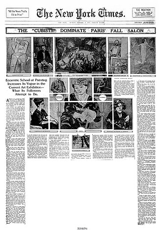"""Cubism - The """"Cubists"""" Dominate Paris' Fall Salon, The New York Times, October 8, 1911. Picasso's 1908 Seated Woman (Meditation) is reproduced along with a photograph of the artist in his studio (upper left). Metzinger's Baigneuses (1908-09) is reproduced top right. Also reproduced are works by Derain, Matisse, Friesz, Herbin, and a photo of Braque"""