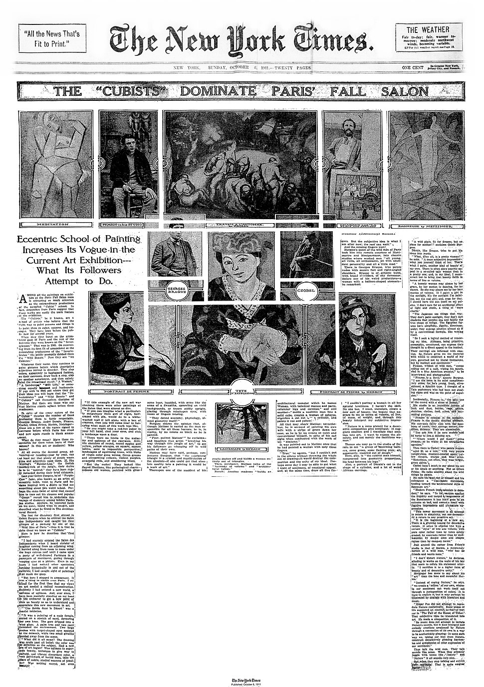 """The """"Cubists"""" Dominate Paris' Fall Salon, The New York Times, October 8, 1911"""