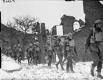 Welsh Guards - Men of 1st Battalion, Welsh Guards in Arras, France, 14 February 1940.