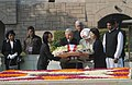 The Emperor of Japan, His Majesty Akihito and the Empress of Japan, Her Majesty Michiko laying wreath at the Samadhi of Mahatma Gandhi, at Rajghat, in Delhi on December 02, 2013.jpg