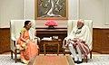 The Governor of Madhya Pradesh, Smt. Anandiben Patel calling on the Prime Minister, Shri Narendra Modi, in New Delhi on February 05, 2018 (2).jpg