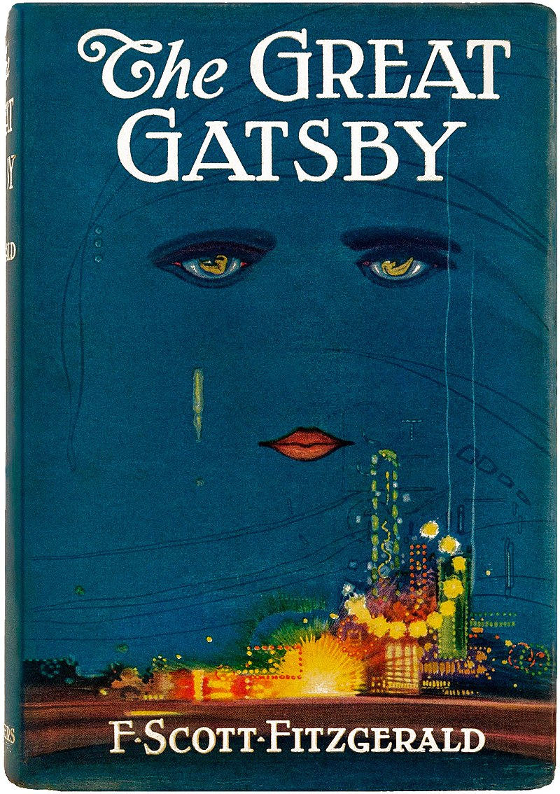 The book cover with title against a dark sky. Beneath the title are lips and two eyes, looming over a city.
