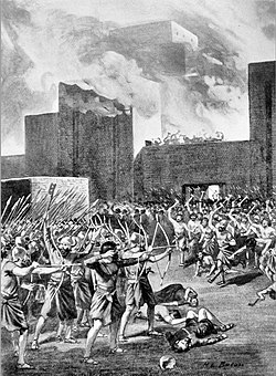 The Gutians attacking a Babylonian city, as Akkadians are making a stand outside their city. 19th century illustration.