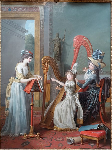 File:The Harp Lesson, a portrait of Louise Marie Adelaide Eugenie de Bourbon d'Orleans, daughter of the Duc d'Orleans, by Jean Antoine Theodore Giroust, 1791, oil on canvas - Dallas Museum of Art - DSC05249.jpg