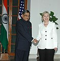 The US Secretary of State, Ms. Hillary Clinton meeting the Union Minister for External Affairs, Shri S.M. Krishna, in New Delhi on July 20, 2009.jpg
