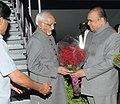 The Vice President, Shri Mohd. Hamid Ansari being received by the Governor of Maharashtra, Shri K. Sankaranarayanan, on his arrival at Pune airport on December 13, 2013.jpg