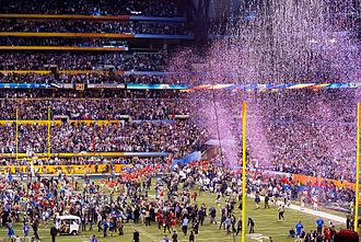 Lucas Oil Stadium - Super Bowl XLVI post-game celebrations in 2012.