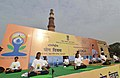 The participants in the mass performance of Common Yoga Protocol, on the occasion of the 4th International Day of Yoga -2018, at Qutub Minar Complex, in New Delhi on June 21, 2018.JPG