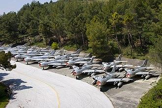 Kuçovë Air Base - Albanian Air Force Shenyang F-6 fighters outside Kuçovë Air Base's tunnel.