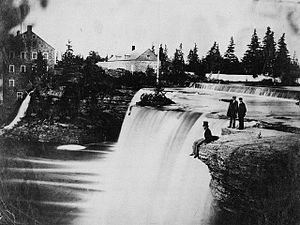 Bytown Mechanics' Institute - View of Rideau Falls. The buildings in the background are the McKay and McKinnon cloth mill.