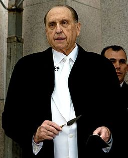 Monson laying the cornerstone during the dedication of the Curitiba Brazil Temple on June 1, 2008 Thomas S Monson2.jpg