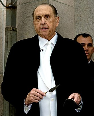 Thomas S. Monson - Monson laying the cornerstone during the dedication of the Curitiba Brazil Temple on June 1, 2008