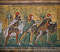 Three Wise Men from the East. Part of the mosaic on the left wall of the Basilica of Sant'Apollinare-Nuovo. Ravenna, Italy.jpg