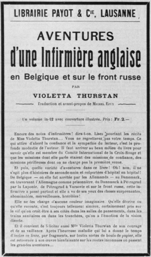 "Violetta Thurstan - 1915 publisher's advertising for French edition of Field Hospital or ""Adventures of an English Nurse"""
