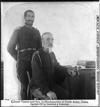 Greco-Turkish War (1897) - Col. Timoleon Vassos and his son at Greek headquarter in Crete
