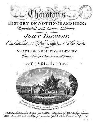 Robert Thoroton - Title page of John Throsby's new edition of Thoroton's earlier History of Nottinghamshire, 1797