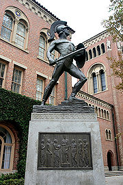 "The Trojan Shrine, better known as ""Tommy Trojan"" located at the center of University of Southern California campus."