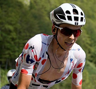 Climbing specialist - Warren Barguil wearing the Polka Dot Jersey at the 2017 Tour de France