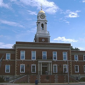 Hempstead (village), New York - Town of Hempstead's old Town Hall located in The Village of Hempstead on the corner of Front Street and Washington Street. The building has been annexed by a large attached building on Washington Street.